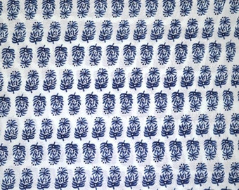 Navy Blue Block Print Motif Cotton Fabric by the Yard