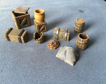 Crates and barrels in wood + bag of spices for 28mm miniatures games