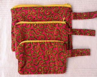 Pink and Yellow Swirl Print Make Up Bags (Set of 3)