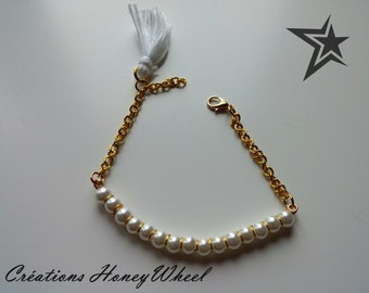 Bracelet gold and Perle Blanche