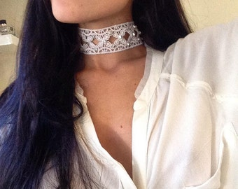 Lace and Crystal Choker