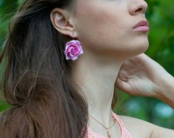 flower earrings, bride roses, gift for her, blue rose, rose earrings, bridesmaids gift, bride accessories, pink rose, yellow roses, roses