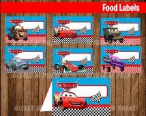 Cars Food Labels, Printable Cars food tent cards, Cars party food cards instant download