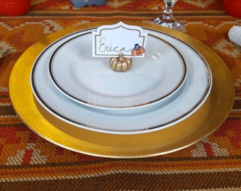 Thanksgiving place cards and burlap sliverware holder