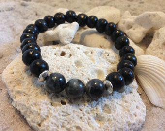 Black Labradorite with black wood beads and pewter accents