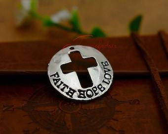 10PCS--23x23mm ,Cross Charms, Antique golden faith hope love words Charm pendant, DIY supplies,Jewelry Making