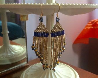 Adorable blue and gold Chandelier Earrings