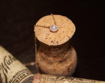 Pave Setting 0.14Ct Diamond Necklace