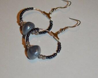 Silver and blue hoop earrings
