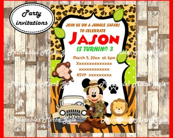 Mickey Mouse Safari Invitation, printable Mickey Mouse Birthday Invitation, Mickey Mouse Jungle Party invitation