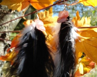 """Earrings """"collection feathers"""" cherry quartz"""