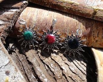 "Pendant ""soleil collection"" precious, Emerald, Ruby, Sapphire stone"