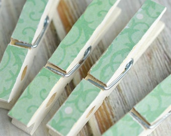 Decorative Clothes Pins (White and Green)