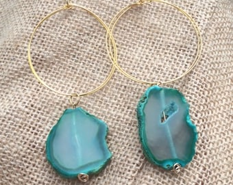 Large hoop earrings with Green Agate stone