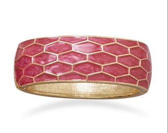 Pearlescent Pink Enamel Honeycomb Design Fashion Bangle Bracelet