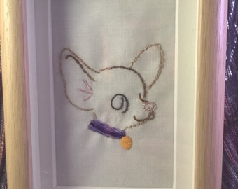 Chihuahua/ dog/ puppy  handembroidered framed picture