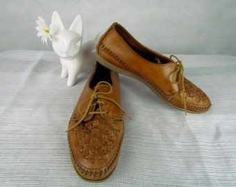 Vintage 80s Oxford Lace up Brown Leather Moccasin Shoes by Dexter size 10
