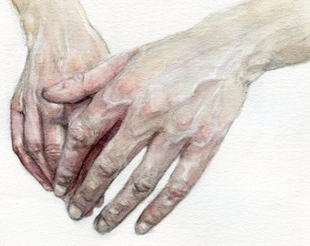 Watercolour Hands Giclée Fine Art Print