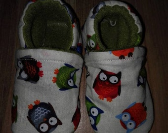 handmade fabrics owls booties 0-6 month