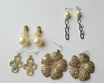 Elegant Vintage Costume Jewelry - Dangle and Drop Earrings - Retro 1960's-70's Chic Classics for Pierced Ears. Pearl, Chain, Antique Bronze