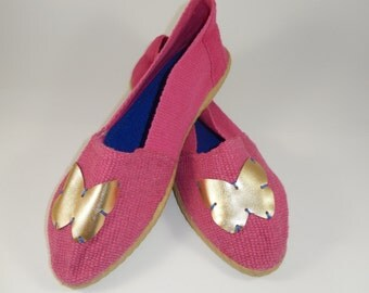 Pink Espadrilles with Golden Butterfly