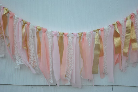PINK GOLD FABRIC garland, photo prop, first birthday banner, nursery decoration, baby girl