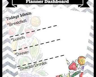 Digital Printable Daily Meal Plan Planner Dashboard 5x7 & 7x9 Life Happy Travel