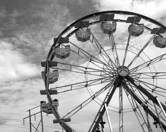 Ferris Wheel Picture, Black and White - Digital Download