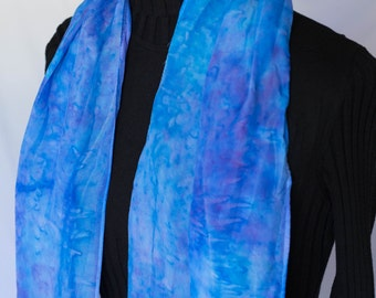 Really Blue Hand Painted Silk Scarf