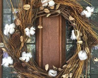 Grapevine Cotton Boll Wreath, Front Door Wreath, Farmhouse Wreath