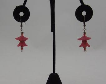Red Tulip Dangling Earrings