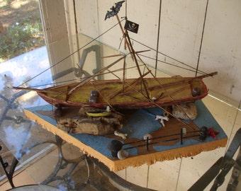"Handmade Halloween Decoration or Art Display, ""Pirates Plunder"""