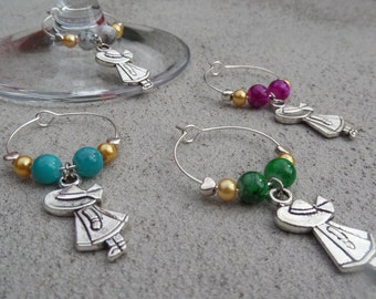Set of 4 Colourful Girl Wine Glass Charms