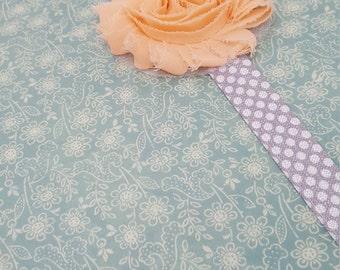 Custom decorative  peach fabric flower PLANNER BAND:Happy Planner, Erin Condren, Planner accessories, Elastic Band, Plum Paper