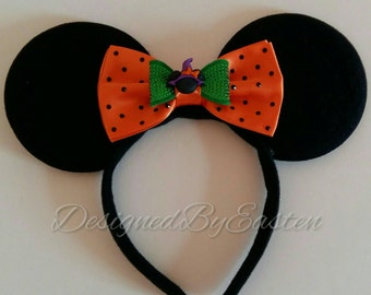 Halloween Witching Minnie Mouse Ears Headband and Bow