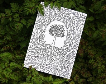 Evergrowing Roots Illustration A4 Print or 10x15cm Postcard Black&White [10]