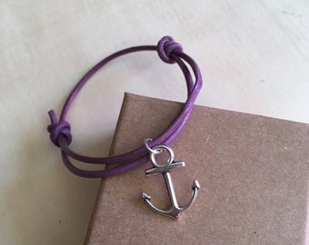 Purple leather cord bracelet Limited Edition