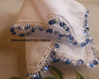 Silver and blue sequined mandilia (handkerchief for dancing)