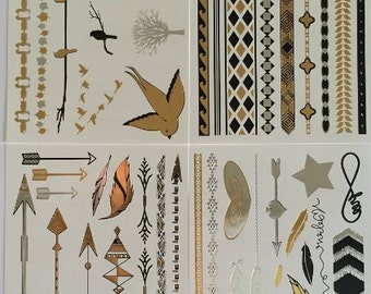 Temporary Tattoos, 4 Pages of Beautiful Black, Silver and Gold Tattoo Jewelry - Original Artwork