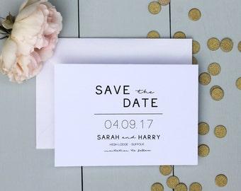 Wedding Save The Date Card, Minimalist Wedding Save The Date Card, Simple Clean Wedding Save The Date Invite