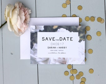 Floral Wedding Save The Date Card, White Rose Wedding Save The Date Invite, Flower Wedding Save The Date Card