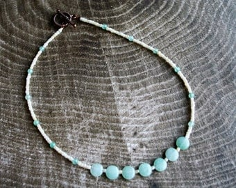 Green Aventurine Beaded Necklace, Copper Beaded Necklace, Green Beaded Necklace, White Beaded Necklace, Aventurine Beaded Necklace, Gemstone