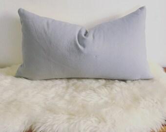 Gray Mauve Linen Mini Lumbar Pillow