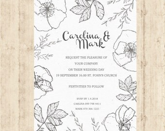 Wedding invitation template download - Printable wedding invitation set - wedding invitations with rsvp -handdraw flower