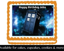 Doctor Who Edible Image Cake Cupcake or Cookie Topper Birthday Party Decoration Icing Frosting Sheet