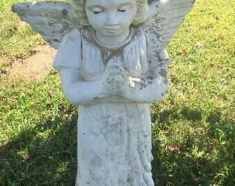 Large antique/vintage concrete garden angel statue