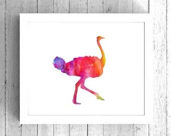Ostrich Watercolor Art Print - Printable Bird Artwork - Digital Ostrich Art, Watercolor Ostrich Art, Abstract Ostrich Artwork, Colorful