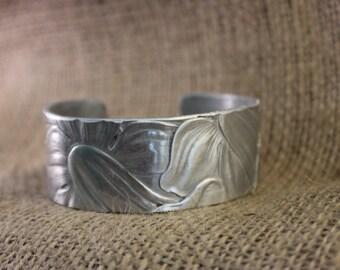 Unique aluminum Floral cuff bracelet embossed
