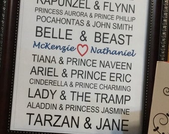Disney Names Wedding/Anniversary Gift