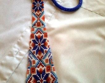 embellishment beaded-jewelry crochet-necktie-Christmas present-handmade jewellery tie with beads for kids